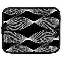 Wavy Lines Black White Seamless Repeat Netbook Case (xl)