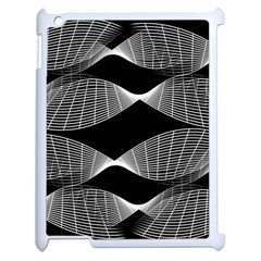 Wavy Lines Black White Seamless Repeat Apple Ipad 2 Case (white) by CrypticFragmentsColors