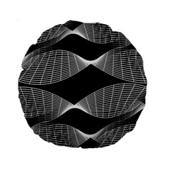 Wavy Lines Black White Seamless Repeat Standard 15  Premium Round Cushions by CrypticFragmentsColors