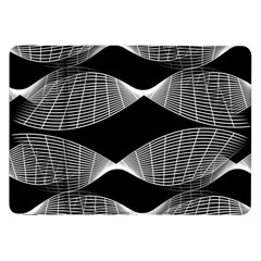 Wavy Lines Black White Seamless Repeat Samsung Galaxy Tab 8 9  P7300 Flip Case by CrypticFragmentsColors