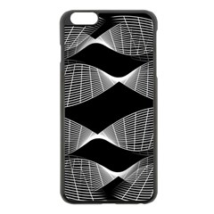 Wavy Lines Black White Seamless Repeat Apple Iphone 6 Plus/6s Plus Black Enamel Case by CrypticFragmentsColors