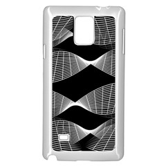 Wavy Lines Black White Seamless Repeat Samsung Galaxy Note 4 Case (white)