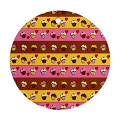 Cupcakes Pattern Round Ornament (two Sides)  by Valentinaart