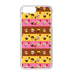 Cupcakes pattern Apple iPhone 7 Plus White Seamless Case by Valentinaart
