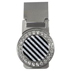 Stripes3 Black Marble & Gray Marble (r) Money Clip (cz) by trendistuff