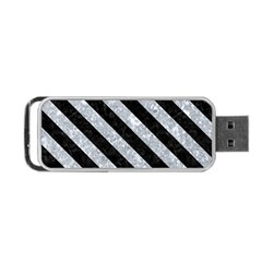 Stripes3 Black Marble & Gray Marble (r) Portable Usb Flash (one Side) by trendistuff