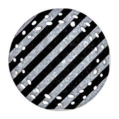 Stripes3 Black Marble & Gray Marble Ornament (round Filigree) by trendistuff