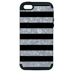 Stripes2 Black Marble & Gray Marble Apple Iphone 5 Hardshell Case (pc+silicone) by trendistuff