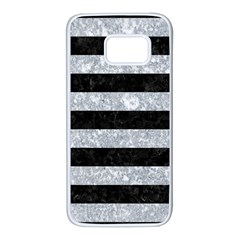 Stripes2 Black Marble & Gray Marble Samsung Galaxy S7 White Seamless Case