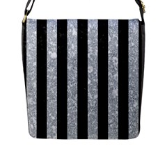 Stripes1 Black Marble & Gray Marble Flap Closure Messenger Bag (l) by trendistuff