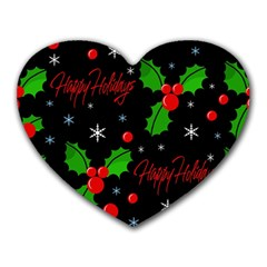 Happy Holidays Pattern Heart Mousepads by Valentinaart