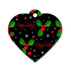 Happy Holidays Pattern Dog Tag Heart (two Sides) by Valentinaart