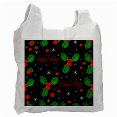 Happy Holidays Pattern Recycle Bag (one Side) by Valentinaart