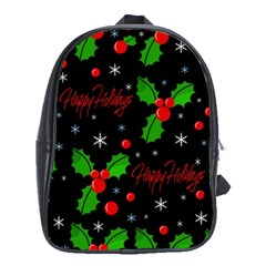Happy Holidays Pattern School Bags (xl)  by Valentinaart