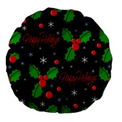 Happy Holidays Pattern Large 18  Premium Flano Round Cushions by Valentinaart