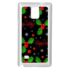 Happy Holidays Pattern Samsung Galaxy Note 4 Case (white) by Valentinaart