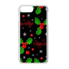 Happy Holidays Pattern Apple Iphone 7 Plus White Seamless Case by Valentinaart