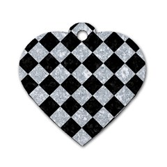 Square2 Black Marble & Gray Marble Dog Tag Heart (two Sides) by trendistuff