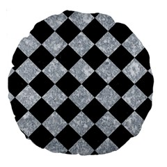 Square2 Black Marble & Gray Marble Large 18  Premium Round Cushion  by trendistuff