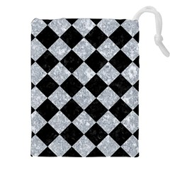 Square2 Black Marble & Gray Marble Drawstring Pouch (xxl) by trendistuff