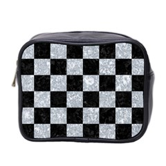 Square1 Black Marble & Gray Marble Mini Toiletries Bag (two Sides) by trendistuff
