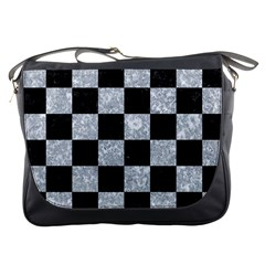 Square1 Black Marble & Gray Marble Messenger Bag by trendistuff