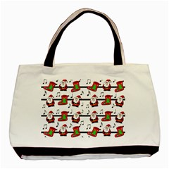 Xmas Song Pattern Basic Tote Bag by Valentinaart