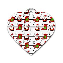 Xmas Song Pattern Dog Tag Heart (two Sides) by Valentinaart