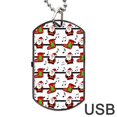 Xmas Song Pattern Dog Tag Usb Flash (two Sides)  by Valentinaart