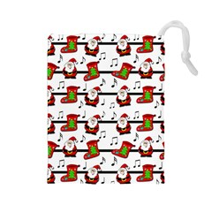 Xmas Song Pattern Drawstring Pouches (large)  by Valentinaart