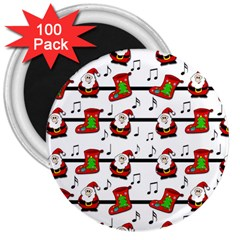 Xmas Song Pattern 3  Magnets (100 Pack) by Valentinaart
