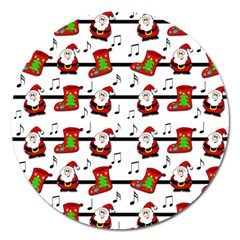 Xmas Song Pattern Magnet 5  (round) by Valentinaart