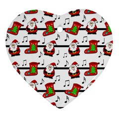 Xmas Song Pattern Heart Ornament (2 Sides) by Valentinaart