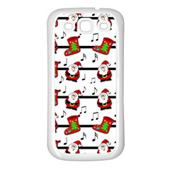 Xmas Song Pattern Samsung Galaxy S3 Back Case (white) by Valentinaart