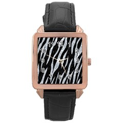 Skin3 Black Marble & Gray Marble Rose Gold Leather Watch  by trendistuff