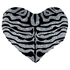 Skin2 Black Marble & Gray Marble (r) Large 19  Premium Flano Heart Shape Cushion by trendistuff