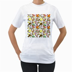 Xmas candy pattern Women s T-Shirt (White) (Two Sided)