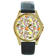Xmas Candy Pattern Round Gold Metal Watch by Valentinaart
