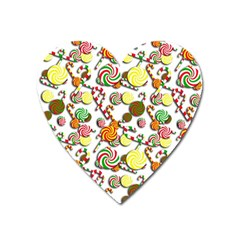 Xmas Candy Pattern Heart Magnet by Valentinaart