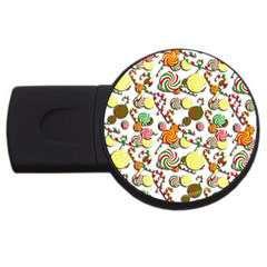 Xmas Candy Pattern Usb Flash Drive Round (2 Gb)  by Valentinaart