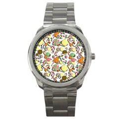 Xmas Candy Pattern Sport Metal Watch by Valentinaart