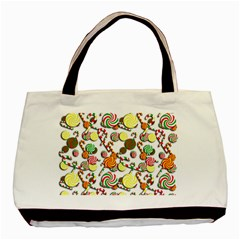 Xmas Candy Pattern Basic Tote Bag by Valentinaart