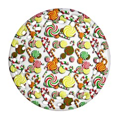 Xmas Candy Pattern Round Filigree Ornament (2side) by Valentinaart