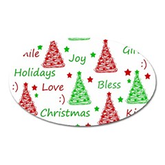 New Year Pattern Oval Magnet by Valentinaart