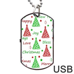 New Year Pattern Dog Tag Usb Flash (two Sides)  by Valentinaart