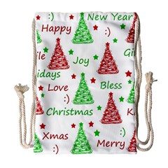 New Year Pattern Drawstring Bag (large) by Valentinaart