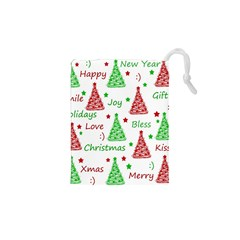 New Year Pattern Drawstring Pouches (xs)  by Valentinaart