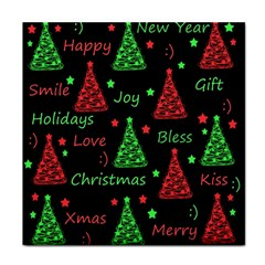 New Year Pattern   Red And Green Tile Coasters