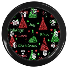 New Year Pattern   Red And Green Wall Clocks (black) by Valentinaart