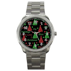 New Year Pattern   Red And Green Sport Metal Watch by Valentinaart